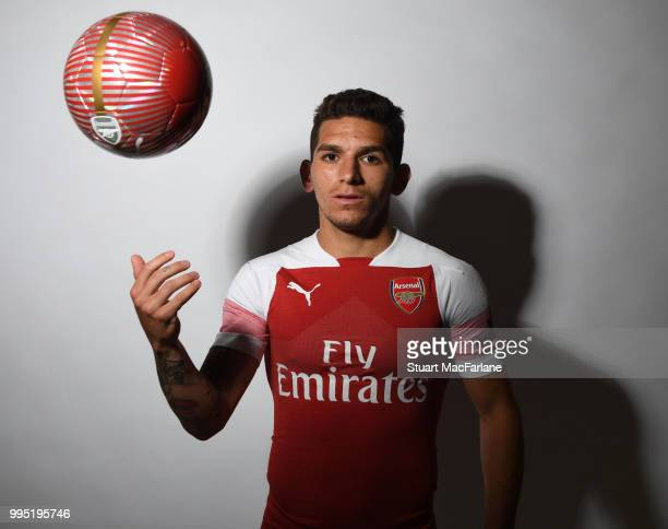 Arsenal unveil new signing Lucas Torreira at London Colney on July 10 2018 in St Albans England