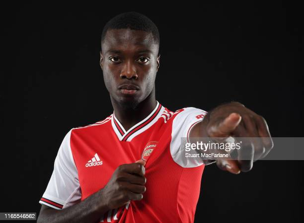 Arsenal unveil new signing Nicolas Pepe at London Colney on July 31 2019 in St Albans England