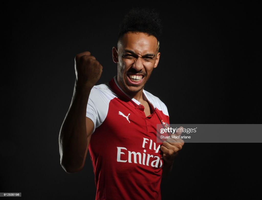 Arsenal unveil new signing Pierre-Emerick Aubameyang at London Colney on January 31, 2018 in St Albans, England.