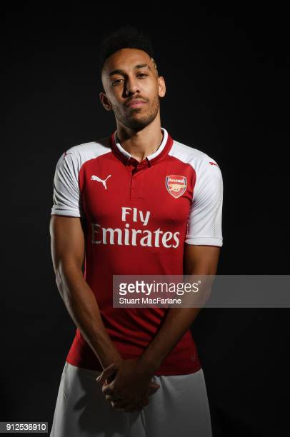 Arsenal unveil new signing PierreEmerick Aubameyang at London Colney on January 31 2018 in St Albans England
