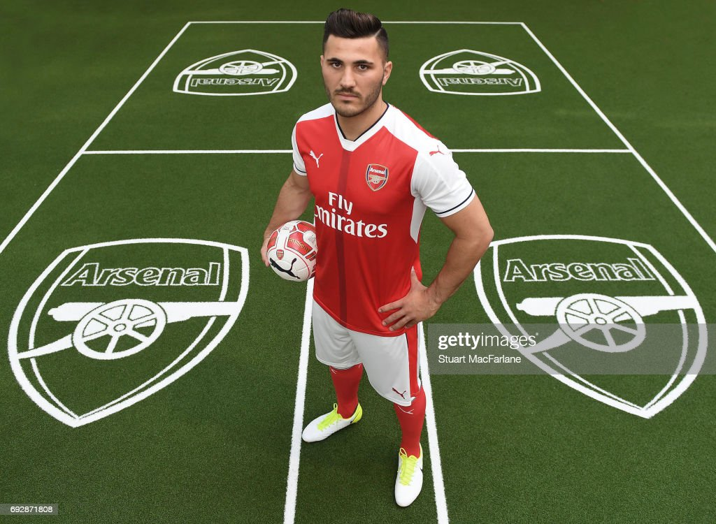 Arsenal Unveil New Signing Sead Kolasinac at London Colney on May 25, 2017 in St Albans, England.