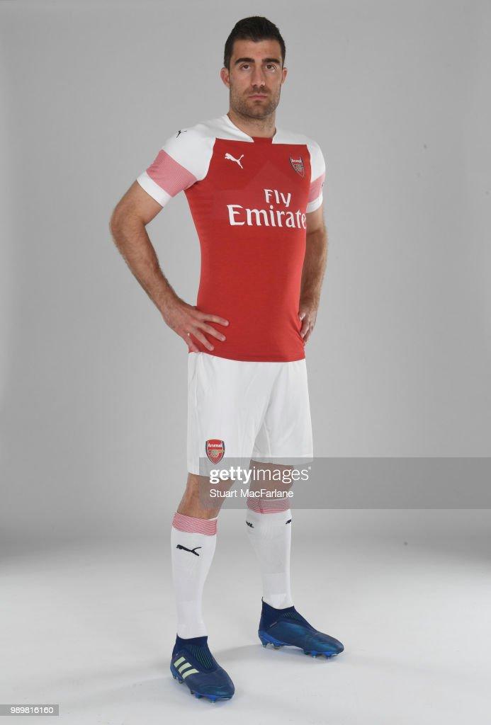 Arsenal unveil new signing Sokratis Papastathopolus at London Colney on July 2, 2018 in St Albans, England.