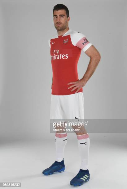Arsenal unveil new signing Sokratis Papastathopolus at London Colney on July 2 2018 in St Albans England