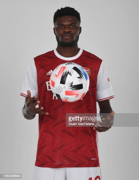 Arsenal unveil new signing Thomas Partey at London Colney on October 13, 2020 in St Albans, England.