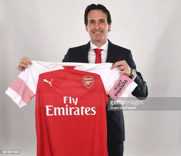 Arsenal unveil their new manager Unai Emery at the Emirates Stadium on May 23 2018 in London England