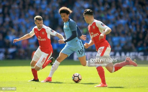 Arsenal v Manchester City Emirates FA Cup Semi Final Wembley Stadium Arsenal's Aaron Ramsey and Granit Xhaka battle for the ball with Manchester...