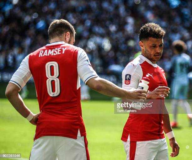 Arsenal v Manchester City Emirates FA Cup Semi Final Wembley Stadium Arsenal's Aaron Ramsey and Alex OxladeChamberlain ahead of the FA Cup Semi Final...