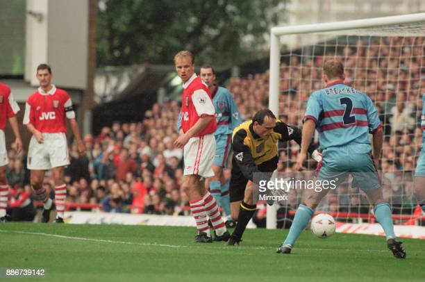 Arsenal verses West Ham United at Highbury North London Final score was 1 0 to Arsenal an Ian Wright penalty in the 75th minute Picture shows number...
