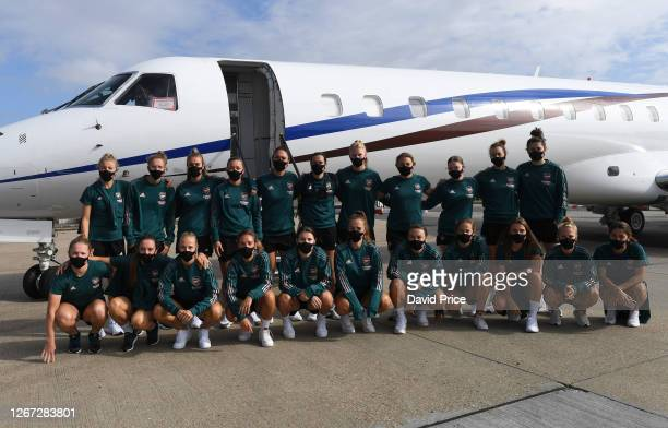 Arsenal Women prepare to board the plane traveling to Spain for the Women's UEFA Champions League at Stansted Airport on August 20, 2020 in Stansted,...