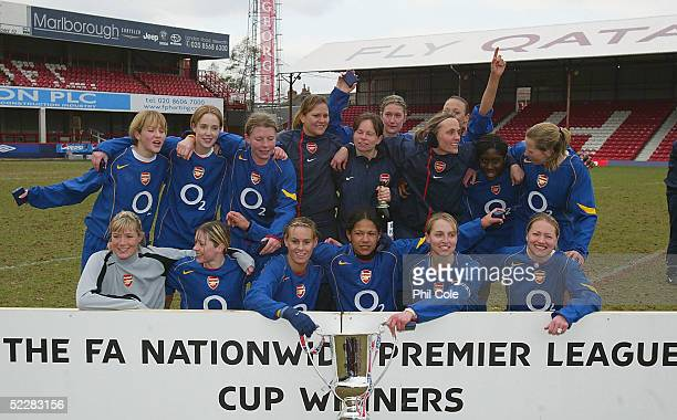 Arsenal Womens Football Team celebrate with the trophy after beating Charlton during the FA Nationwide Premier League Womens Cup Final match between...