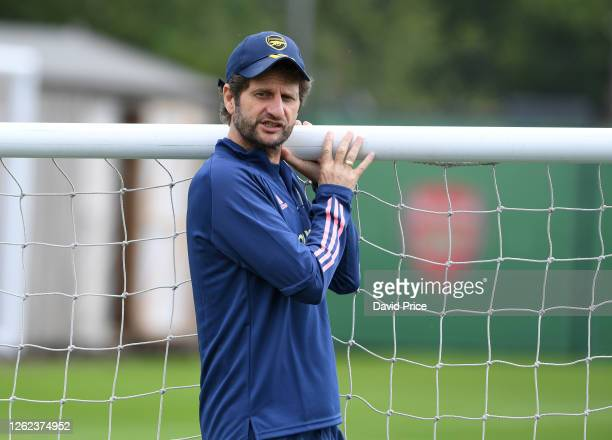 Arsenal Women's Manager Joe Montemurro during the Arsenal Women training session at Arsenal Academy on July 29 2020 in Walthamstow England