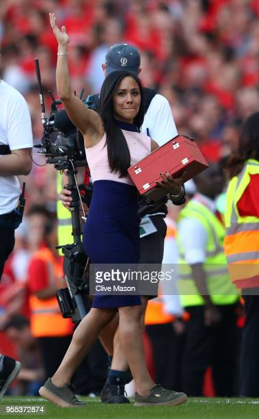 Arsenal Womens player Alex Scott recieves her 100 appearences award after the Premier League match between Arsenal and Burnley at Emirates Stadium on...