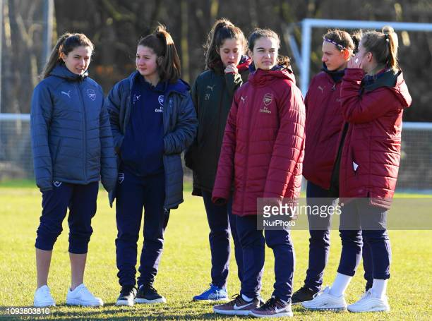Arsenal Youngsters and Danielle Van De Donk before the the SSE Women's FA Cup football match between Crawley Wasps Ladies and Arsenal Women at...