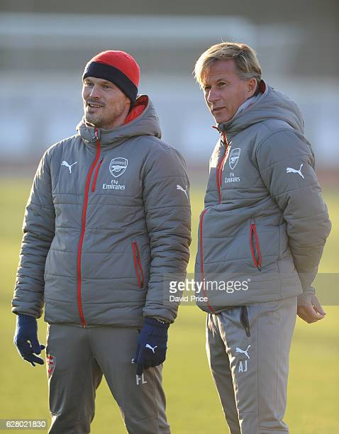 Arsenal Youth Coach Freddie Ljungberg talks to Andries Jonker the Arsenal Academy Director before the UEFA Champions League match between FC Basel...
