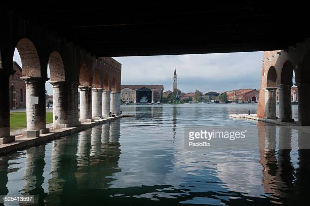 arsenale of venice from under the gagg - armory stock pictures, royalty-free photos & images