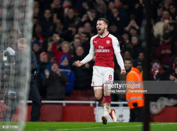 Arsenal's Aaron Ramsey celebrates scoring his side's fifth goal during the Premier League match between Arsenal and Everton at Emirates Stadium on...