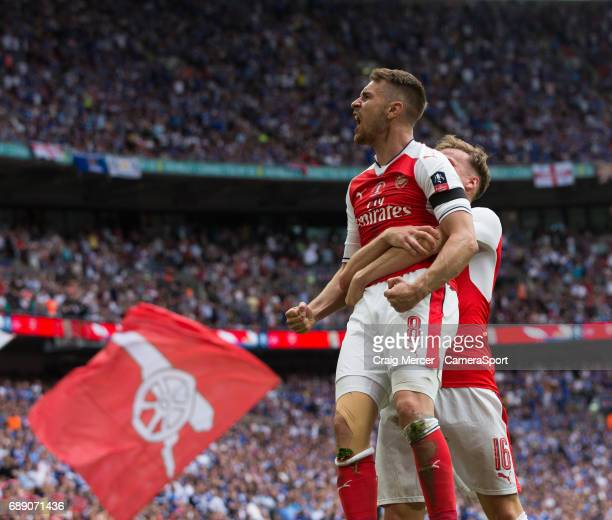 Arsenal's Aaron Ramsey celebrates scoring his sides second goal during the Emirates FA Cup Final match between Arsenal and Chelsea at Wembley Stadium...