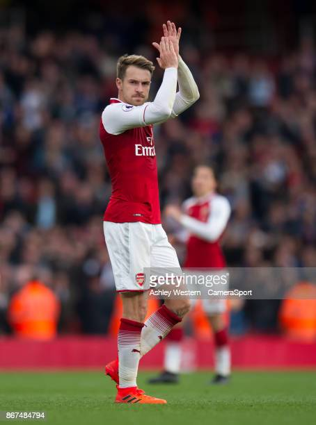 Arsenal's Aaron Ramsey celebrates their 21 victory in the Premier League match between Arsenal and Swansea City at Emirates Stadium on October 28...