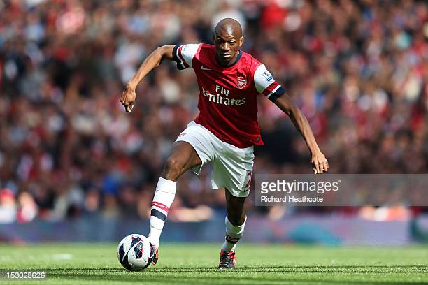 Arsenal's Abou Diaby in action during the Barclays Premier League match between Arsenal and Chelsea at Emirates Stadium on September 29 2012 in...