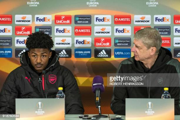Arsenal's Ainsley MaitlandNiles and Arsenal's French manager Arsene Wenger give a press conference in Ostersund Sweden February 14 2018 on the eve of...
