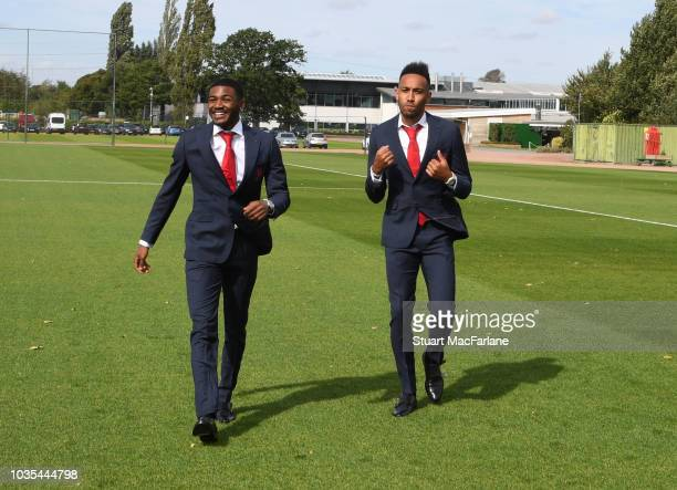 Arsenal's Ainsley MaitlandNiles and PierreEmerick Aubameyang during the 1st team photocall at London Colney on September 18 2018 in St Albans England