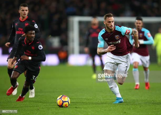 LR Arsenal's Ainsley MaitlandNiles and West Ham United's Marko Arnautovic during Premier League match between West Ham United against Arsenal at The...