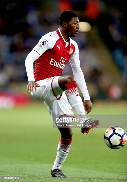 Arsenal's Ainsley MaitlandNiles during the Premier League match at the King Power Stadium Leicester
