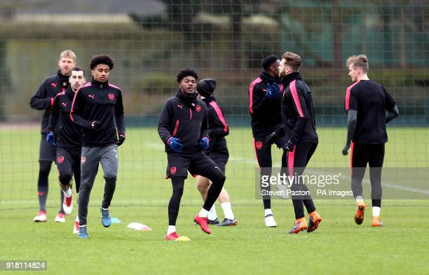 Arsenal's Ainsley MaitlandNiles during the training session at London Colney Hertfordshire