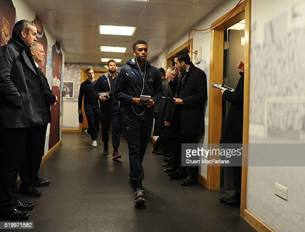 Arsenal's Alex Iwobi arrives ahead of the Barclays Premier League match between West Ham United and Arsenal at the Boleyn Ground on April 9 2016 in...