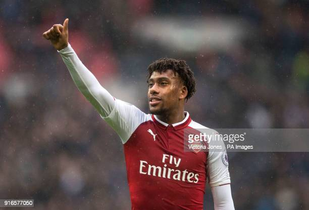 Arsenal's Alex Iwobi gestures after the final whistle at the Premier League match at Wembley Stadium London