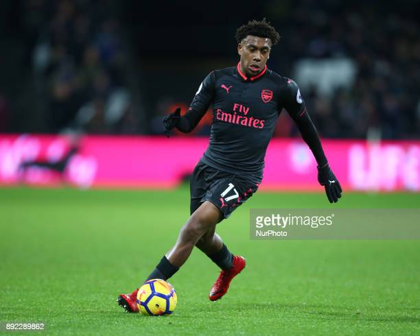 Arsenal's Alex Iwobi in action during Premier League match between West Ham United against Arsenal at The London Stadium Queen Elizabeth II Olympic...