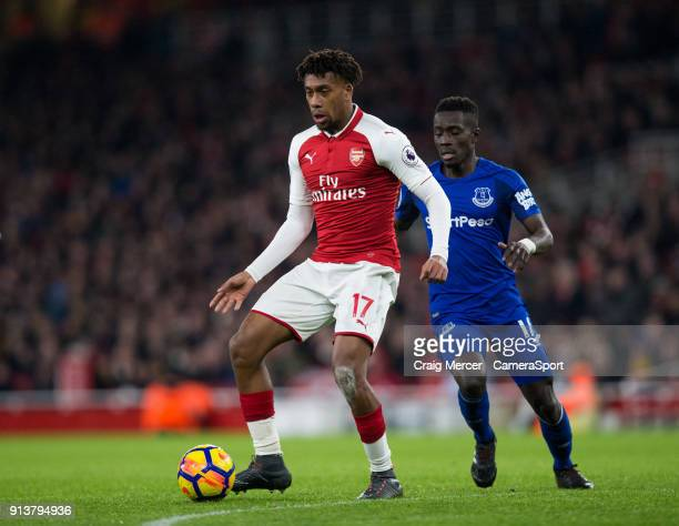 Arsenal's Alex Iwobi in action during the Premier League match between Arsenal and Everton at Emirates Stadium on February 3 2018 in London England