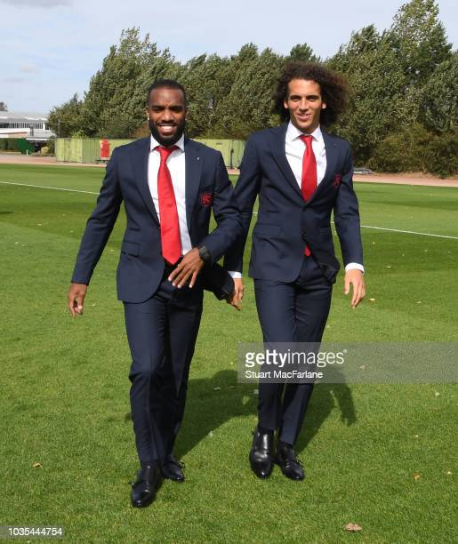 Arsenal's Alex Lacazette and Matteo Guendouzi during the 1st team photocall at London Colney on September 18 2018 in St Albans England