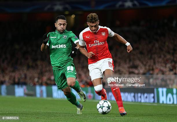 Arsenal's Alex OxladeChamberlain and Wanderson of Ludogorets Razgrad during the UEFA Champions League match between Arsenal FC and PFC Ludogorets...