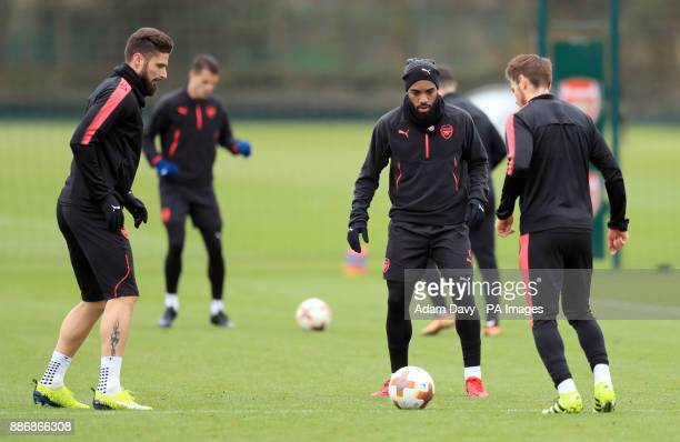 Arsenal's Alexandre Lacazette and Olivier Giroud during a training session at London Colney