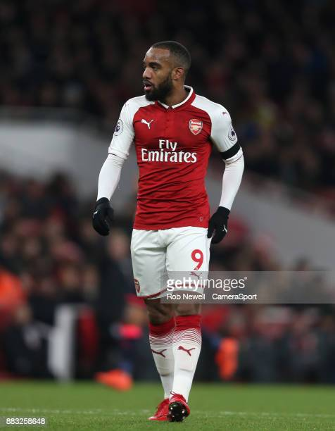 Arsenal's Alexandre Lacazette during the Premier League match between Arsenal and Huddersfield Town at Emirates Stadium on November 29 2017 in London...