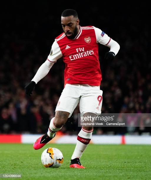 Arsenal's Alexandre Lacazette during the UEFA Europa League round of 32 second leg match between Arsenal FC and Olympiacos FC at Emirates Stadium on...