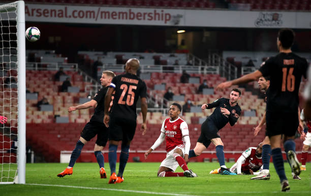 Arsenal's Alexandre Lacazette misses a chance during the Carabao Cup, Quarter Final match at The Emirates Stadium, London.