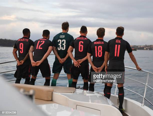 Arsenal's Alexandre Lacazette Olivier Giroud Petr Cech Laurent Koscielny Nacho Monreal and Mesut Ozil at the launch of the new 3rd kit on July 12...