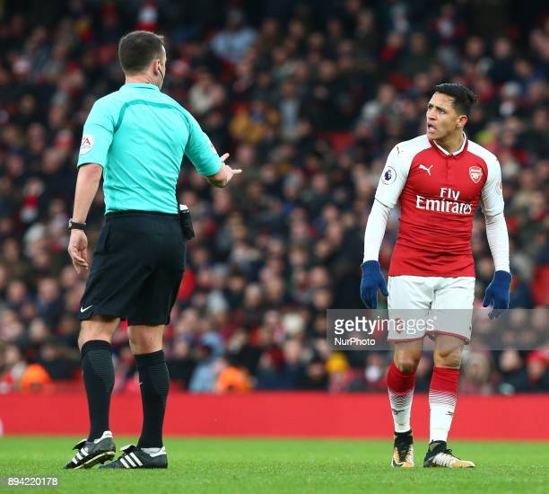 Arsenal's Alexis Sanchez having words with Referee during Premier League match between Arsenal and Newcastle United at The Emirates London 16 Dec 2017