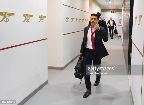 Arsenal's Alexis Sanchez in the home changing room before the Premier League match between Arsenal and Chelsea at Emirates Stadium on January 3 2018...