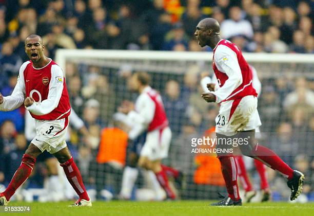 Arsenal's Ashley Cole and Sol Campbell react to Arsenal's equaliser against Tottenham Hotspur during the Premiership match at White Hart Lane in...