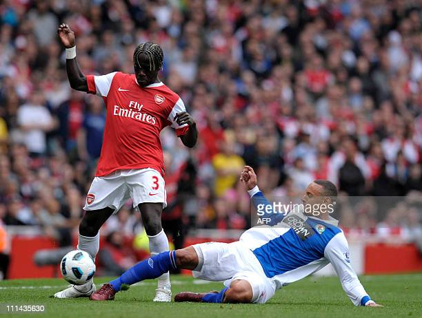 Arsenal's Bacary Sagna vies with Blackburn Rover's Jermaine Jones during their Barclays Premier League football match at Emirates Stadium North...