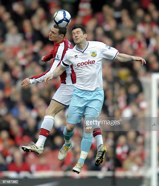 Arsenal's Belgian defender Thomas Vermaelen vies with Burnley's English striker David Nugent during the English Premier League football match between...