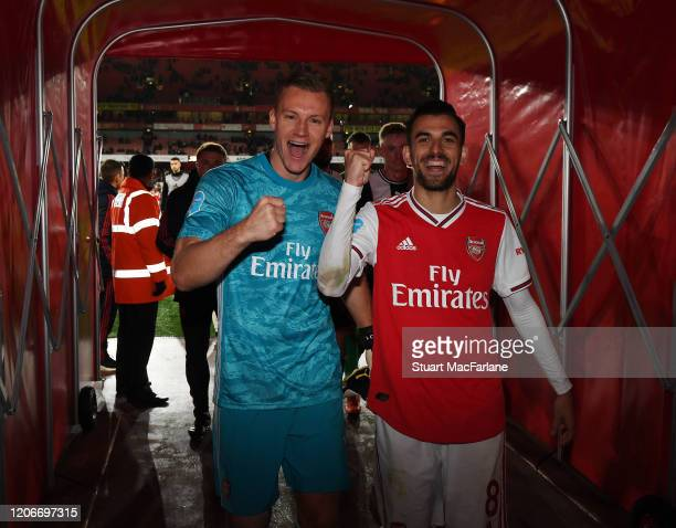 Arsenal's Bernd Leno and Dani Ceballos in the players tunnel after the Premier League match between Arsenal FC and Newcastle United at Emirates...
