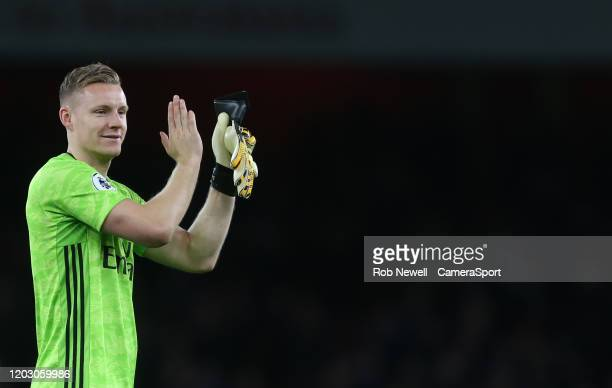 Arsenal's Bernd Leno during the Premier League match between Arsenal FC and Everton FC at Emirates Stadium on February 23 2020 in London United...