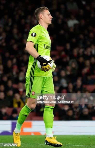 Arsenal's Bernd Leno during the UEFA Europa League round of 32 second leg match between Arsenal FC and Olympiacos FC at Emirates Stadium on February...