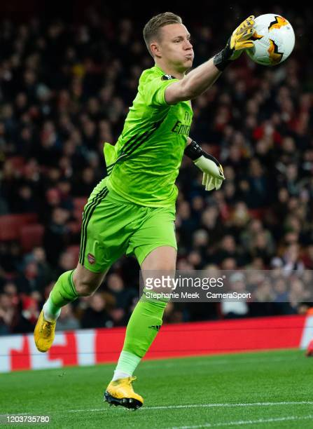 Arsenal's Bernd Leno makes a routine save during the UEFA Europa League round of 32 second leg match between Arsenal FC and Olympiacos FC at Emirates...