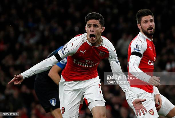 Arsenal's Brazilian defender Gabriel celebrates scoring the opening goal during the English Premier League football match between Arsenal and...