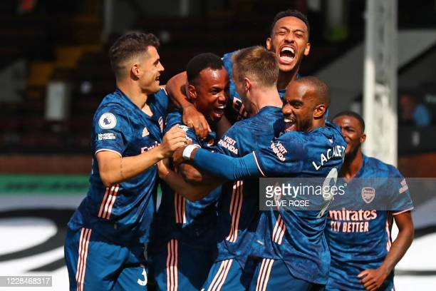 Arsenal's Brazilian defender Gabriel celebrates scoring their second goal during the English Premier League football match between Fulham and Arsenal...